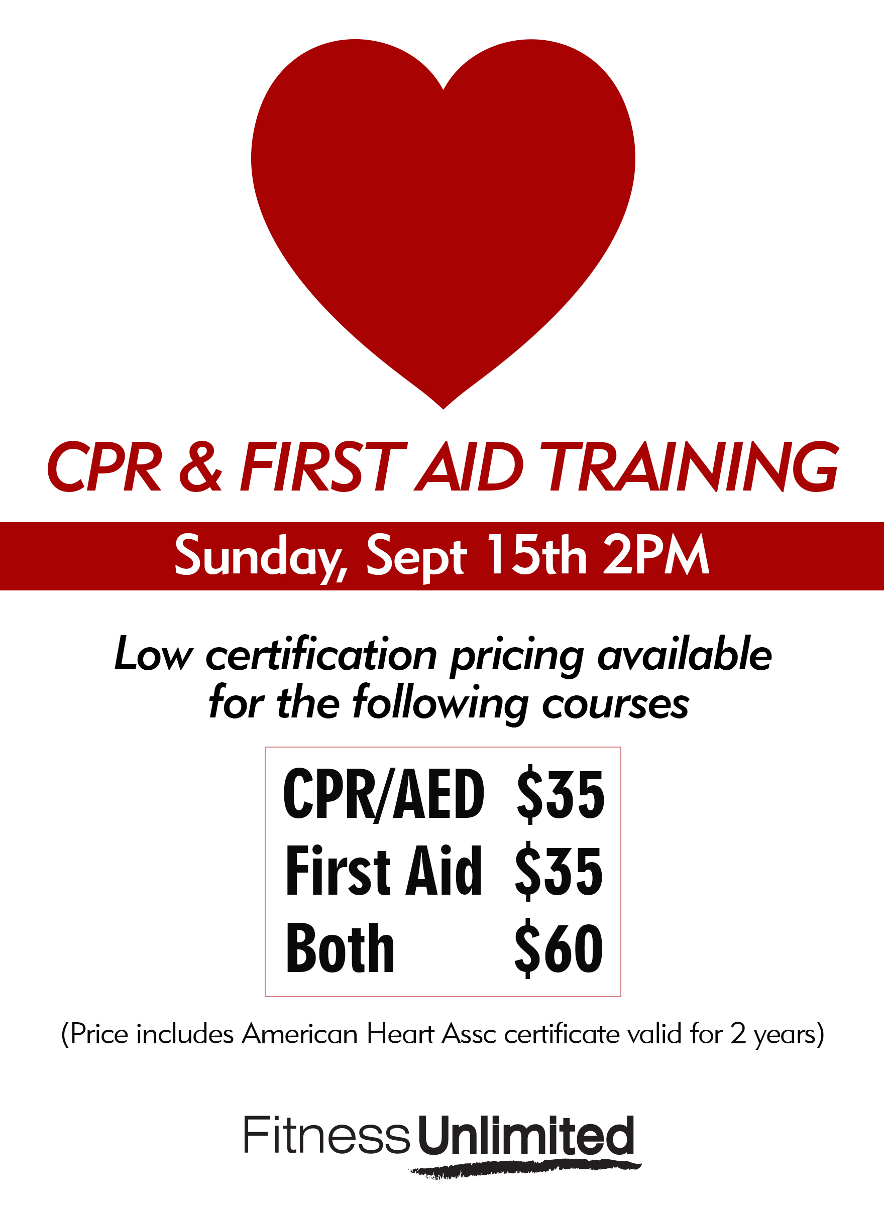 Get cpr first aid training fitness unlimited need to get your cpr and first aid certification join us sunday september 15th at 2pm please sign up in advance at the front desk xflitez Choice Image